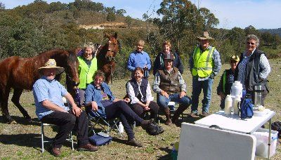 "The Bushranger ""Gang"" enjoying lunch during a ride at Bendemeer."