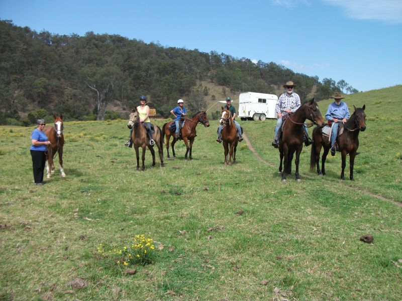 Here's the group saddled up at the camping area, ready to head out at Nulla Nulla, very steep riding country, great views.