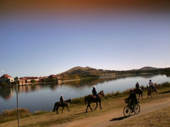 Canberra ride, Gungahlin lake - Jenny, John, Angela and Valerie