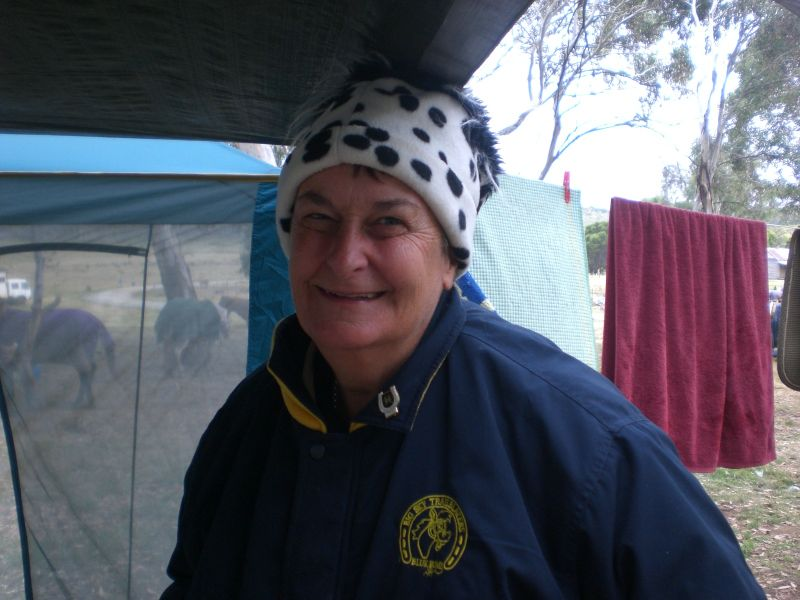 "Our beloved ""tea lady"" and the driver of the fantastic chuck wagon.  Blue Bums never really rough it with June along.  Snowy Mountains 2009"