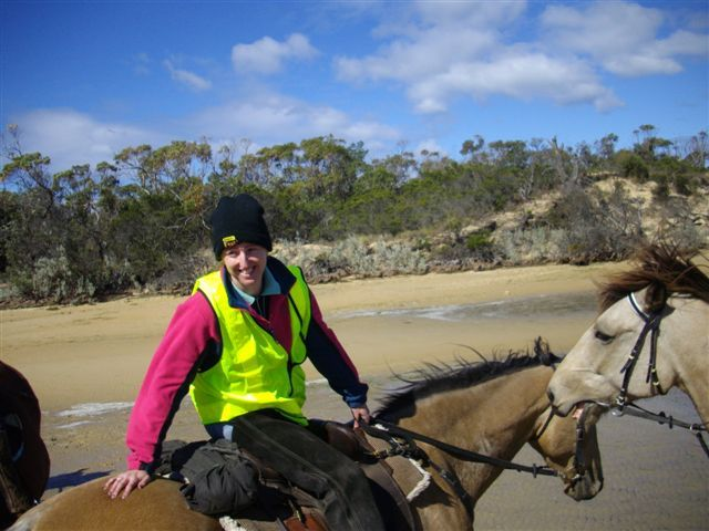 Heidi leading our beach ride.