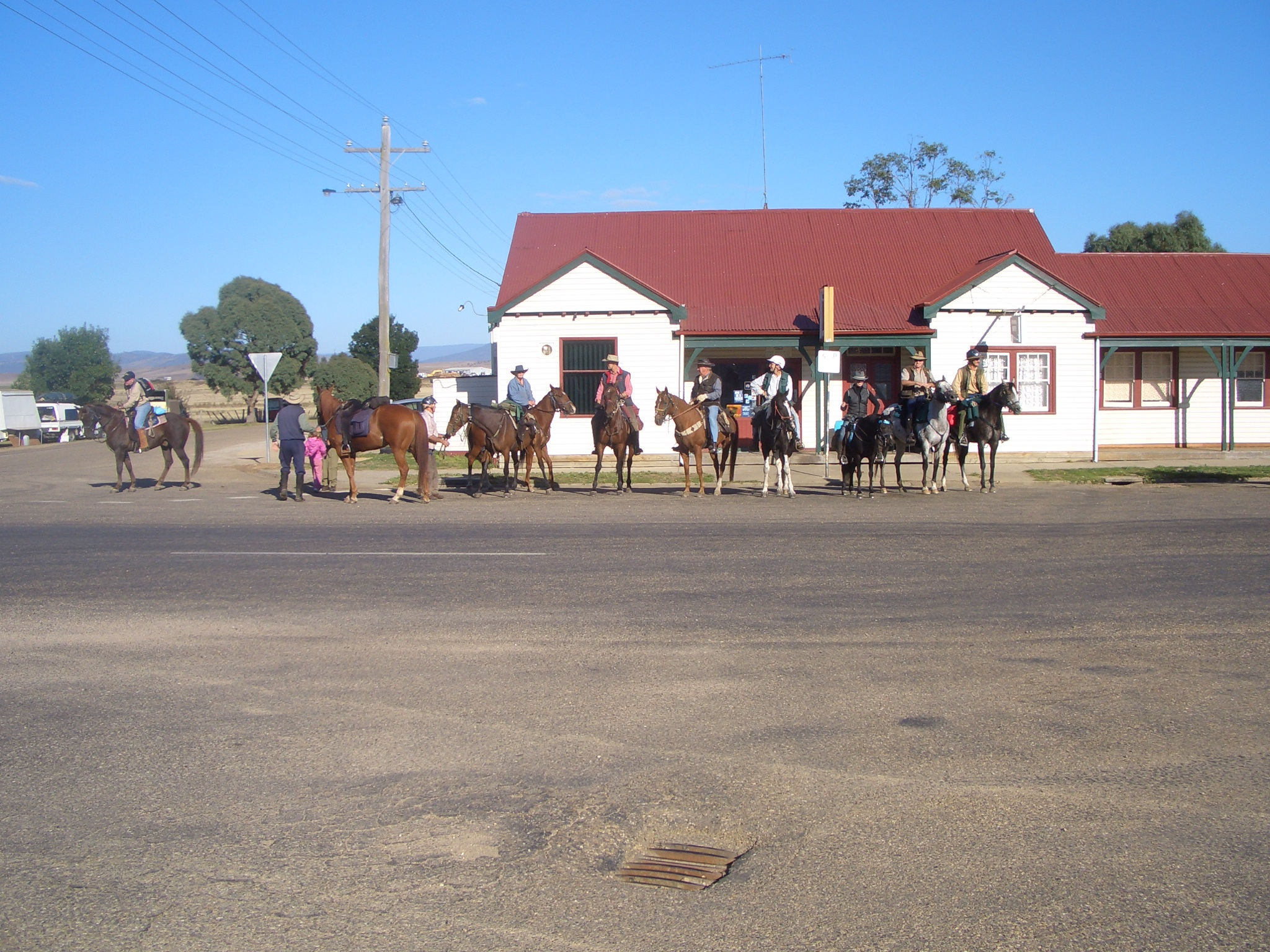 Riders heading off on the first day from the Benambra Pub